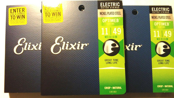 Elixir Guitar Strings 3 Sets Optiweb Electric Medium 11-49 Great Tone Long LIfe
