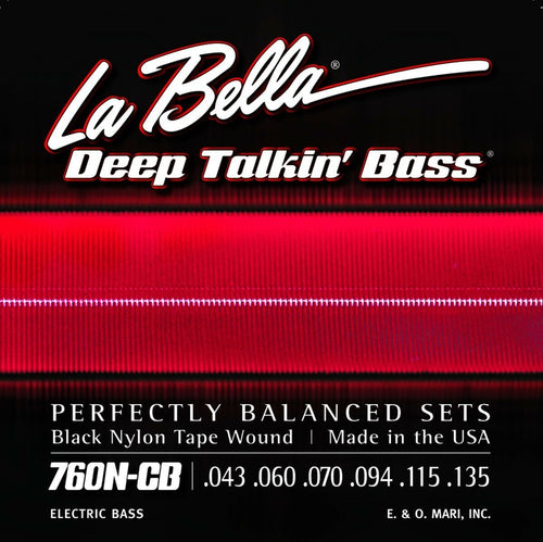 La Bella Bass Strings Deep Talkin' Bass 6-String Black Nylon Tape Wound Light.
