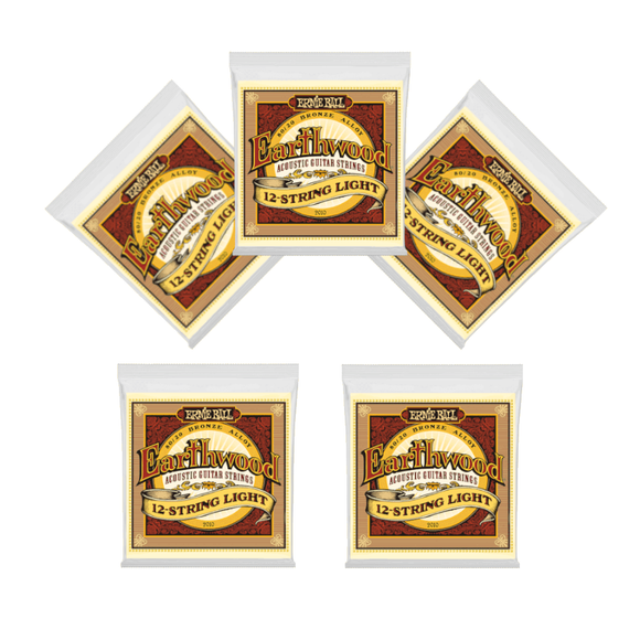 Ernie Ball Guitar Strings 5-Packs 12-String Acoustic Earthwood Light 2010