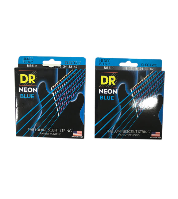 DR Guitar Strings 2 Pack Electric Neon Blue 09-42 Light