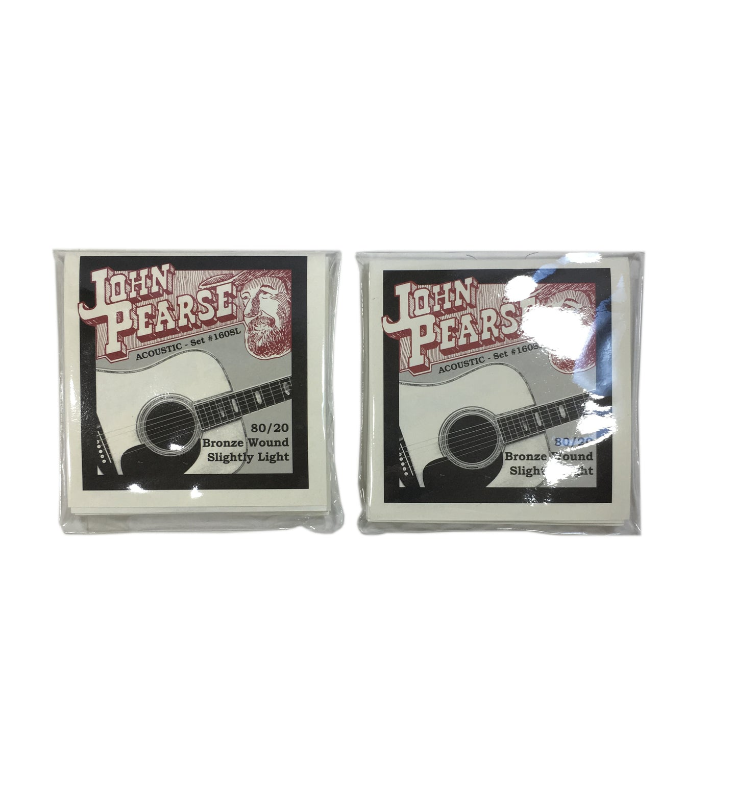 John Pearse Guitar Strings 2-Pack Acoustic 80/20 Bronze Wound Slightly Light #160SL.