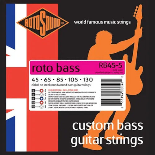 RotoSound Bass Guitar Strings 5-String Roto RB45-5 45-130 Nickel Steel Round Wound.