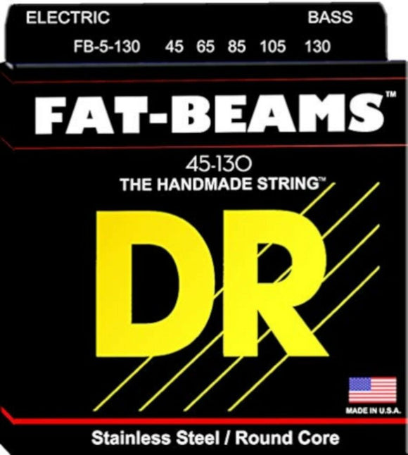 DR Bass Guitar Strings 5-String Fat Beams 45-130 FB5-130 Compression Wound.