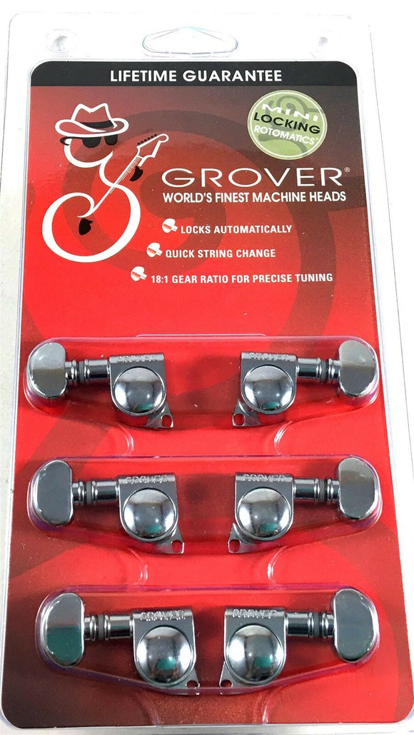 Grover Mini Locking RotoMatics Machine Heads Tuners 406C Chrome 3+3