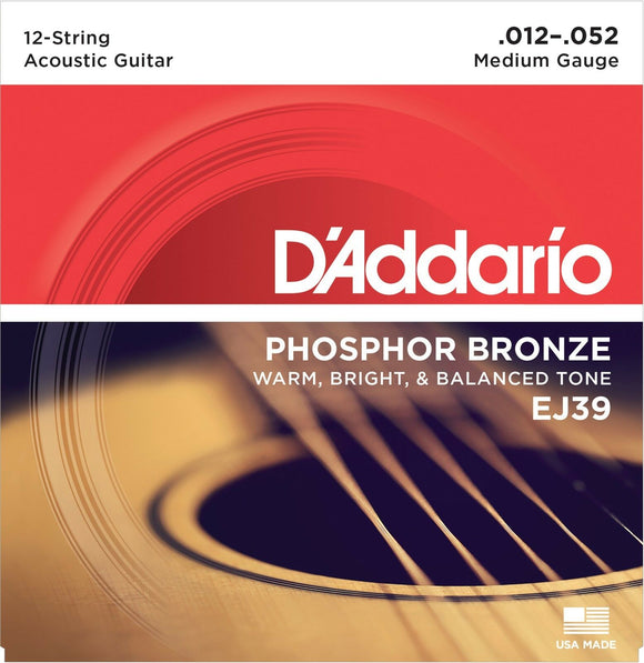 D'Addario Guitar Strings 12 String 12-52 Phosphor Bronze 1 Set.