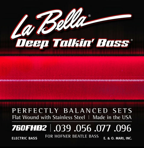 La Bella Bass Strings Deep Talkin' Bass Beatle Hoftner Bass Flat Wound Light.