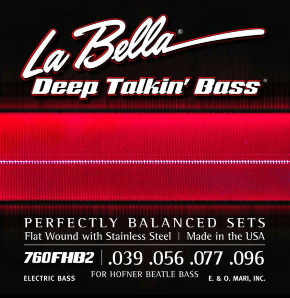 La Bella Bass Strings Deep Talkin' Bass Beatle Hoftner Bass Flat Wound Light
