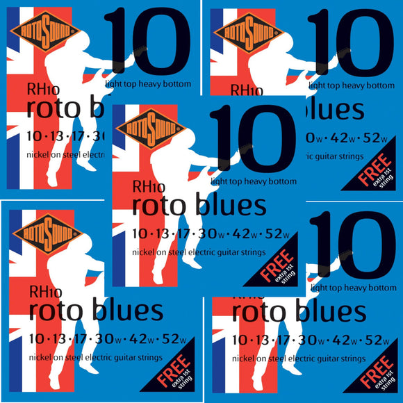 RotoSound Guitar Strings 5-Packs Electric Roto Blue Nickel RH10 Light Tops 10-52w