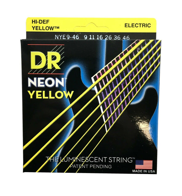 DR Strings Guitar Strings Electric Neon Yellow 09-46 Light and Heavy.