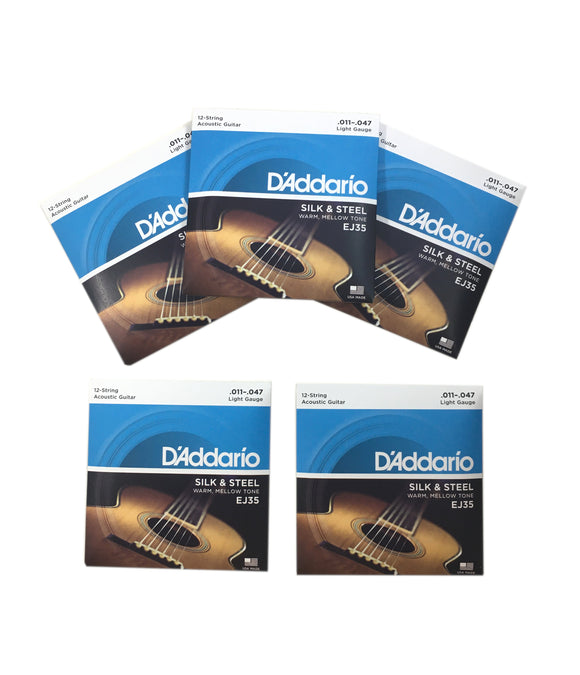 D'Addario Guitar Strings 5-Packs EJ35 12-String Silk & Steel Folk 11-47