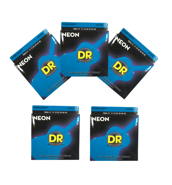 DR Guitar Strings Acoustic 5 Pack Neon Blue Medium Lite 11-50 Luminescent