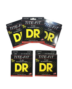 DR Guitar Strings 5 Pack Electric Tite-Fit 09-46 Light and Heavy Handmade USA.