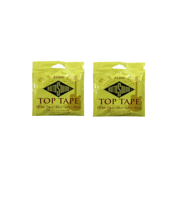 RotoSound Top Tape 2 Pack Monel Flatwound Electric Guitar Strings RS200 12-52