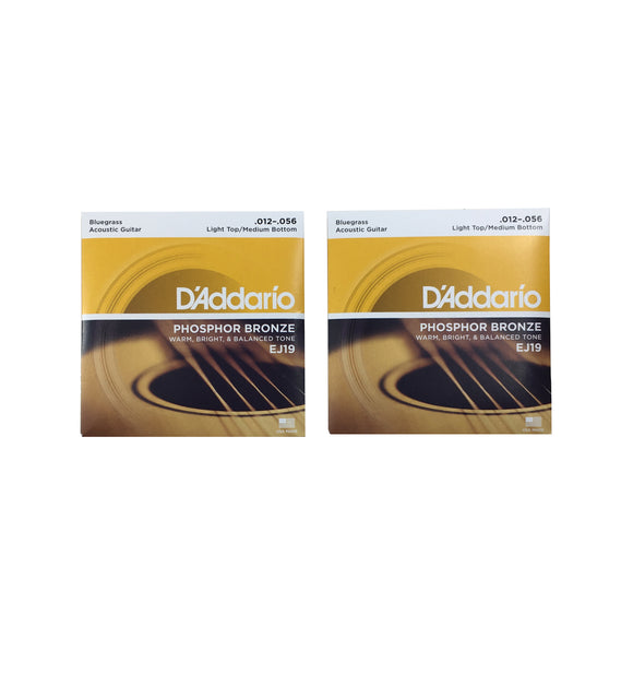 D'Addario Guitar Strings 2-Pack Phosphor Bronze Acoustic Light/Heavy 12-56
