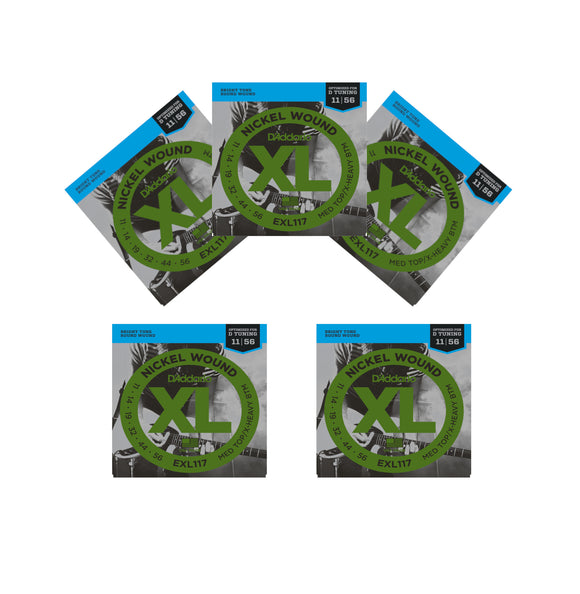 D'Addario Guitar Strings 5 Pack EXL117 Electric Drop D Tuning