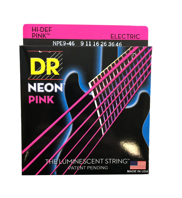 DR Strings Guitar Strings Electric Neon Pink 09-46 Light and Heavy