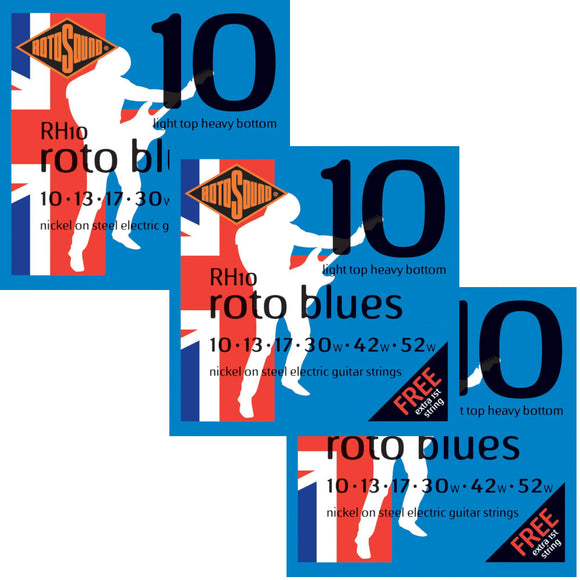 RotoSound Guitar Strings 3-Packs Electric Roto Blue Nickel RH10 Light Tops 10-52w