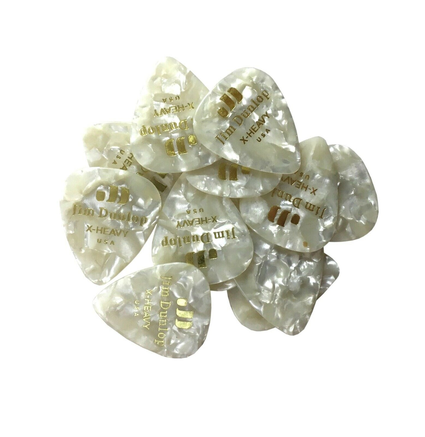 Dunlop Guitar Picks  12 Pack  Celluloid  White Pearl  Extra Heavy.