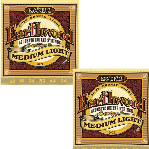 Ernie Ball Guitar Strings 2-Pack Acoustic Earthwood Medium Light 12-54 2003
