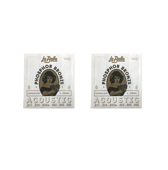 La Bella Guitar Strings  2 Pack Acoustic Phosphor Bronze Custom Light 011-052