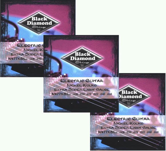 Black Diamond Guitar Strings 3-Pack Electric Super Light 008-038