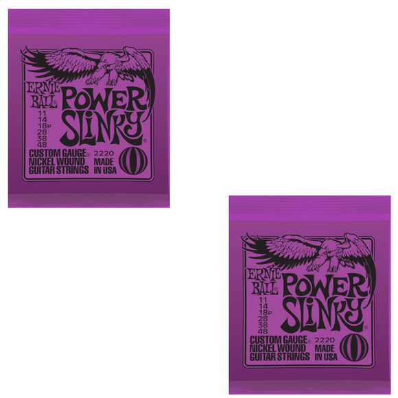 Ernie Ball Guitar Strings  2- Pack Power Slinky Electric 11-48 Nickel Wound.