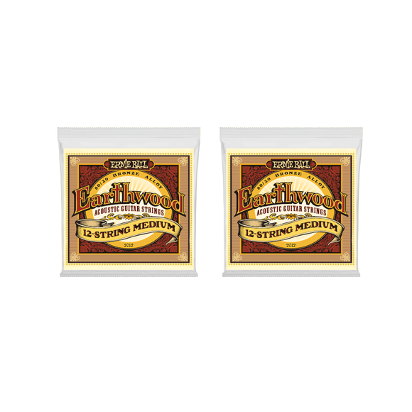 Ernie Ball Guitar Strings 2-Pack 12-String Acoustic Earthwood Medium 2012