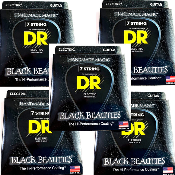 DR Guitar Strings 7-String Electric 5-Pack K3 Black Beauties Coated 11-60.