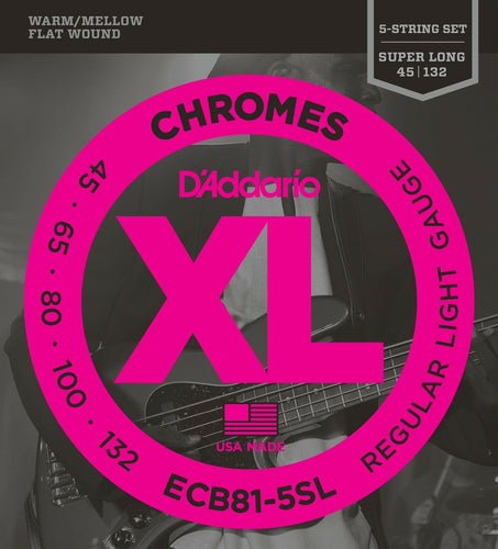 D'Addario Electric Bass Guitar Strings Chromes Flatwound 5-String ECB81-5SL.