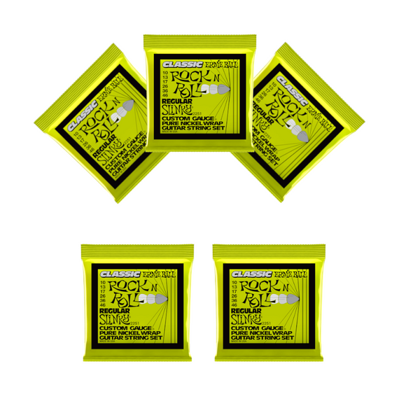 Ernie Ball Guitar Strings 5-Pack Classic Nickel Wrap Regular Slinky Electric 2251 10-46