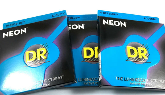 DR Guitar Strings Acoustic 3 Pack Neon Blue Medium Lite 11-50 Luminescent.