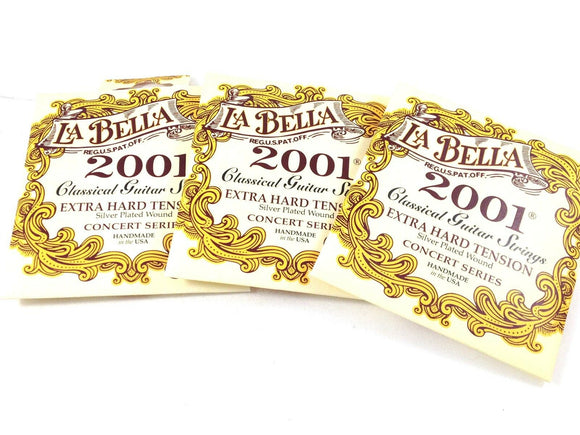 La Bella Guitar Strings  3 Pack  Extra Hard  Silver Plated  Classical  2001.