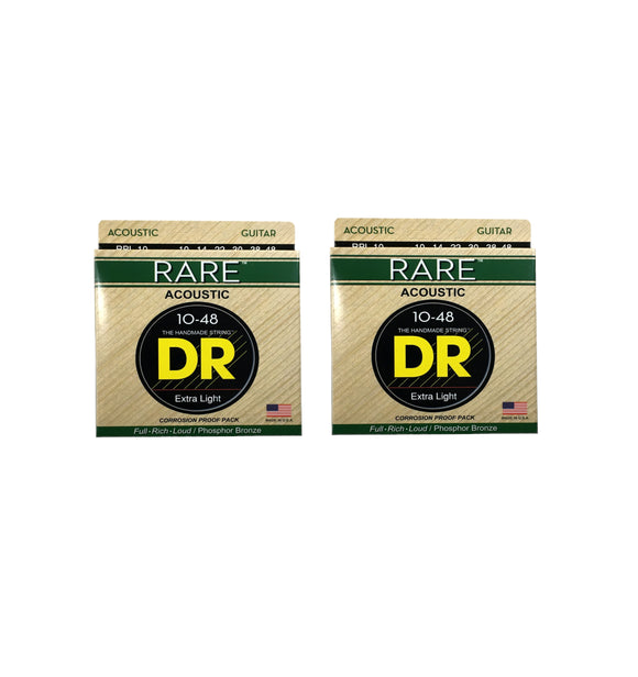 DR Guitar Strings 2 Pack Acoustic RARE Phosphor Bronze Hex Cores RPL-10 10-48