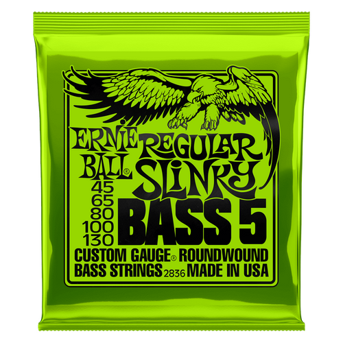 Ernie Ball Bass Guitar Strings 5-String  Regular Slinky 2836 45-130.