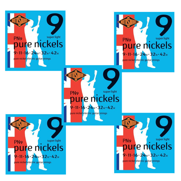 Rotosound Guitar Strings 5-Pack Pure Nickel PN9 Regular 9-42