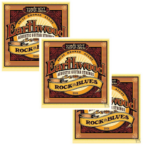 Ernie Ball Guitar Strings 3-Pack Acoustic Earthwood Rock & Blues 10-52 2008