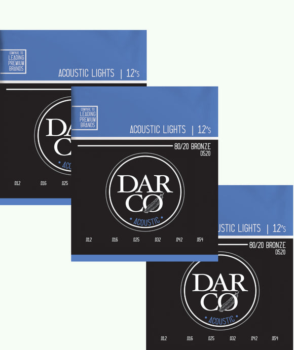 Darco Martin Guitar Strings 3-Pack Acoustic Light 12-54