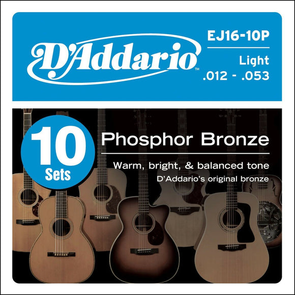 10 Sets of D'Addario EJ16 Acoustic Guitar Strings Light EJ-16