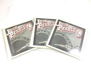 John Pearse 3 Pack Banjo Strings 5 Strings 80/20 Bronze Lt/ Med Gauge Extra Long.