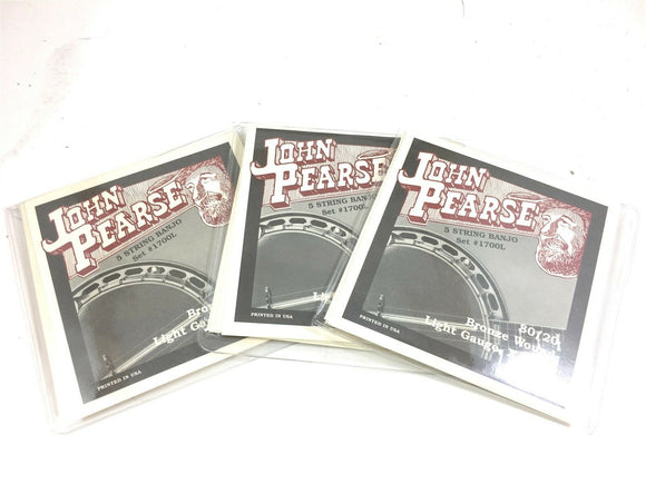 John Pearse 3 Pack Banjo Strings 5 Strings 80/20 Bronze Lt/ Med Gauge Extra Long