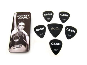 Dunlop Johnny Cash Collectible Guitar Picks in Tin 6 picks Silver Memphis Medium.