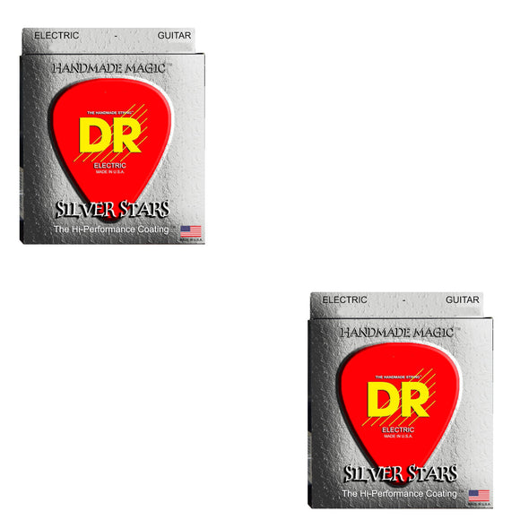 DR Guitar Strings Electric 2-Packs Silver Stars High Performance Coated 09-46