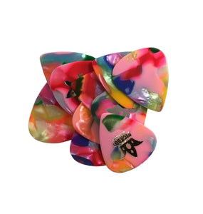 10 Pack  Pickboy Celluloid Guitar Picks  Confetti / Multi  .75mm Medium.