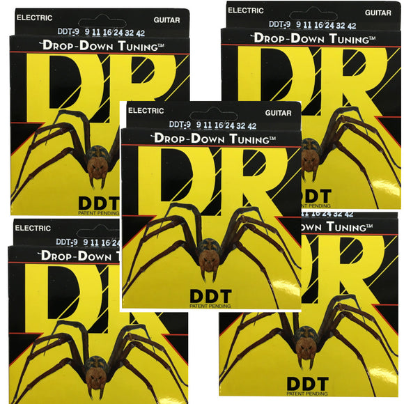 DR Guitar Strings Electric DDT 5 Pack Drop Down Tuning 9-11 Lite.