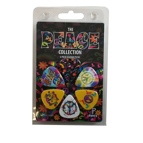 Hippie Peace Guitar Picks 6 Picks 60's Design