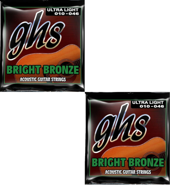 GHS Guitar Strings 2-Pack Acoustic Bright Bronze Ultra Light 10-46