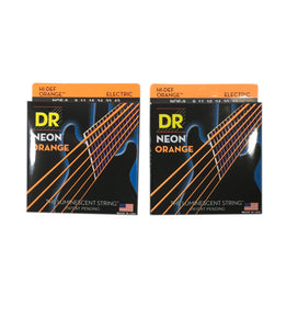 DR Strings Guitar Strings 2 Packs Electric Neon Orange 09-42 Light