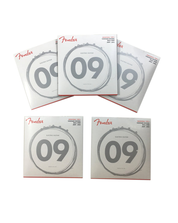 Fender Guitar Strings 5-Pack Electric Pure Nickel Ball End 9-42 Light.