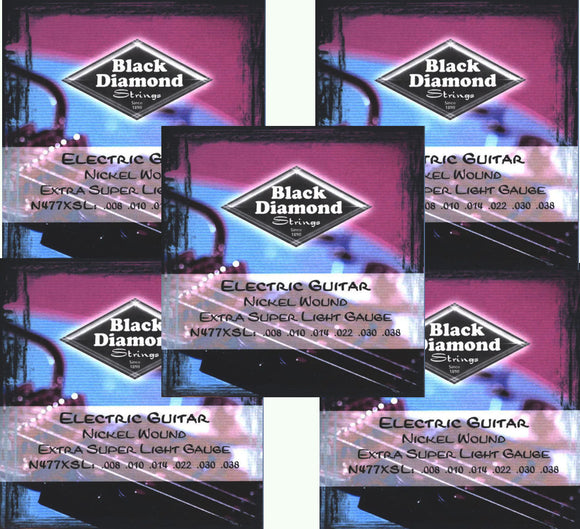 Black Diamond Guitar Strings 5-Pack Electric Super Light 008-038