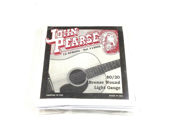 John Pearse Guitar Strings 12 String Set Bronze Wound LIght Gauge 1300L